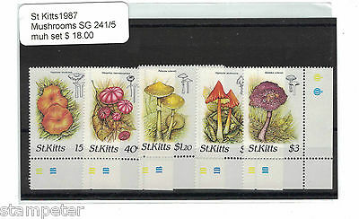 1987 St Kitts Mushrooms Set of 5 SG 241/5 MUH