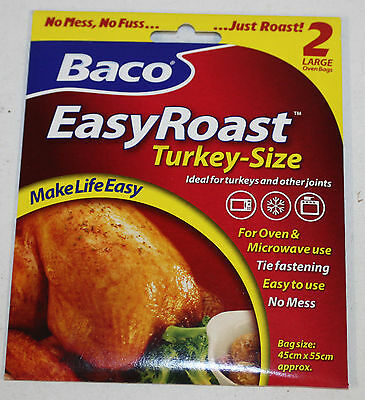 Bacofoil 2 x Large Turkey Size No Mess Oven & Microwave Roasting Bags