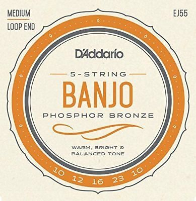 D'Addario EJ55 Medium Phosphor Bronze Banjo Strings. Wound 4th, Loopends.