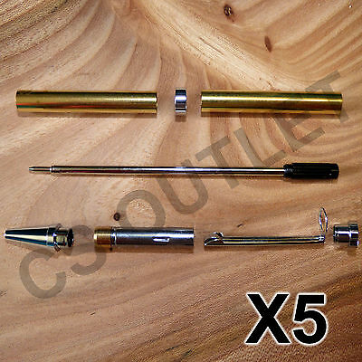 Chrome Slimline Pen Kits X 5 off Sets - for woodturning