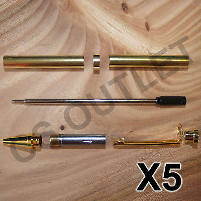 Gold Slimline Pen Kits X 5 off Sets - for woodturning