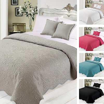 Highams Charlotte Quilted Floral Large Bedspread Throw Cushion Covers Set