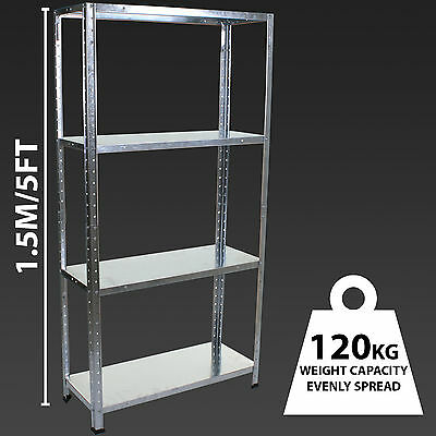 4 Tier Galvanised Shelving Metal Storage Garage Shelves Steel Racking Workshop