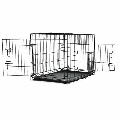 Large Pet Crate Metal Cage For Dog Puppy Training Cat Folding Travel Carrier