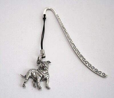 Staffordshire Bull Terrier Dog Bookmark, English Pewter, Gift Boxed (ts) staffie