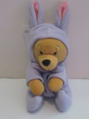 Japan Disney Store Easter Pooh in white fuzzy Bunny outfit Bean Bag Plush