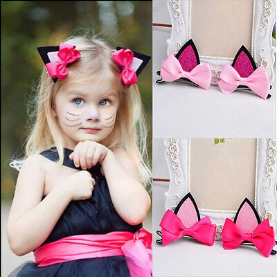 1 Pair Fashion Kids Baby Girls Cat Ears Hairpins Bow  Hair Clip Party Dress Cute