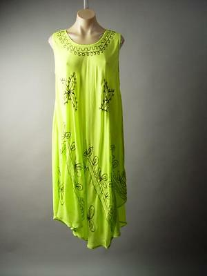 Lime Embroidered Beach Cover Up Boho Handkerchief Trapeze Tent 187 mv Dress OS