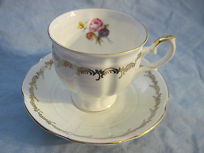 Gorgeous CROWN STAFFORDSHIRE GOLD SCROLL WITH FLORAL SPRAY DESIGN Cup & Saucer