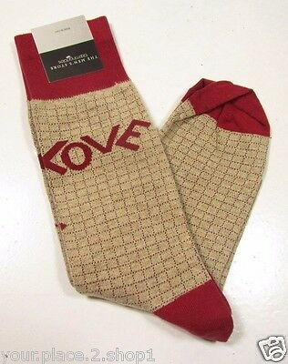 Bloomingdales The Men's Store Men's Khaki/Red Cotton Nylon Love Single Pair Sock