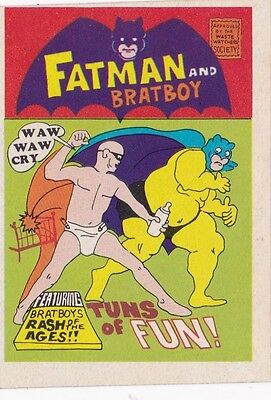 Vintage 1974 Fleer Crazy Covers Sticker Fatman and Bratboy