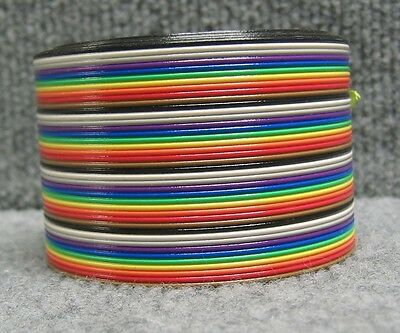 40PIN 40 PIN FLAT WIRE RAINBOW COLOR RIBBON CABLE,1.27 mm 1M, APPROXIMATE 7',NEW