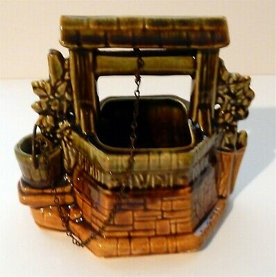 """Vintage 6"""" McCoy Pottery Wishing Well Planter Oh Wishing Well Grant Me a Wish"""