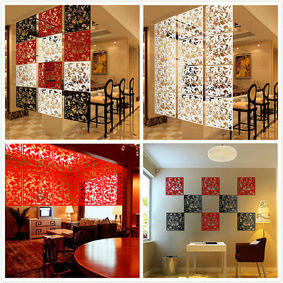 4PC Plastic Hanging Screen Partition Room Divider Wall Sticker Art Home Decor