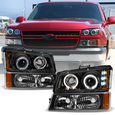 Black 2003 2006 Chevy Silverado Avalanche Led Projector Headlights Per Lights