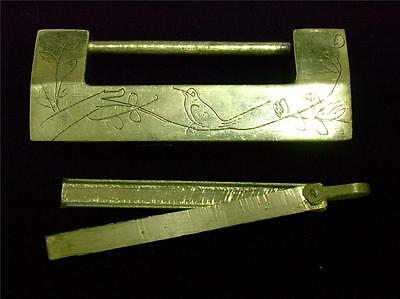 REAL Old Vintage Chinese Brass Door Cabinet KEY LOCK Hardware