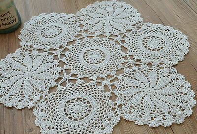 23'' Round Cotton White Hand Crochet Floral Table Centerpiece Doily