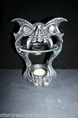 Demon Skull head Spirit Oil Burner 17cm gift incense decor Goth tealight Vampire