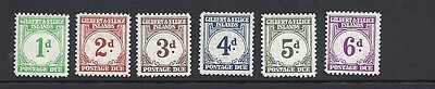 GILBERT and ELLICE 1940 POSTAGE DUEs (SG D1-6 short set) F/VF MH