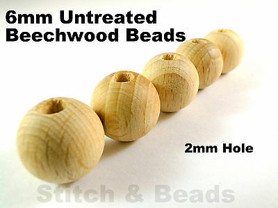 6mm Natural Wooden Beads Round Untreated Wood Balls With 2mm Hole 100% Beechwood