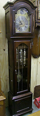 French Dark Oak Long Case Grandfather Clock 8 Day Westminster Chimes (00696)