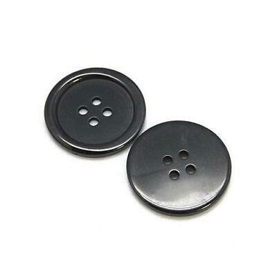 Packet 20 x Black Resin 22mm Round 4-Holed Sew On Buttons HA10670