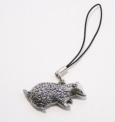 Badger Wildlife Bag Phone Charm in Fine English Pewter, Handmade