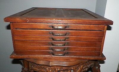 Vintage Antique Wooden Storage Box Six Drawer Each With 80 Sections In Each Draw