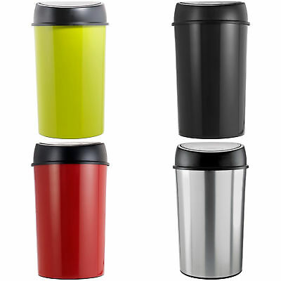 ColourMatch Touch Top 50L Plastic Kitchen Bin - Choice of Silver/Black/Red/Green