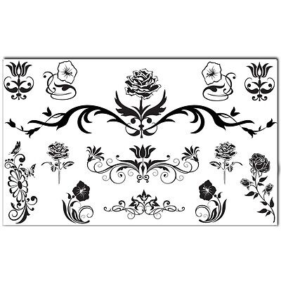 Bling Art Temporary Tattoos Black Flower Set of 13 Tattoos for Women UK