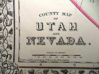 Antique Color Mitchell 1872 County Map of Utah and Nevada