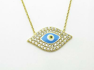 18k Yellow Gold Sterling Silver White Sapphire Evil Eye Kabbalah Necklace