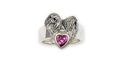 Pekingese Ring Handmade Sterling Silver And 14K Gold Dog Jewelry PK6-R