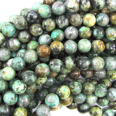 """African Turquoise Round Beads Gemstone 15.5"""" Strand 4mm 6mm 8mm 10mm 12mm 14mm"""