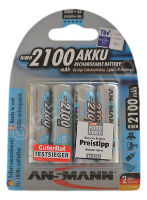 Genuine Ansmann PreCharged Rechargeable AA Battery [2100 mAh] [4 Pack]