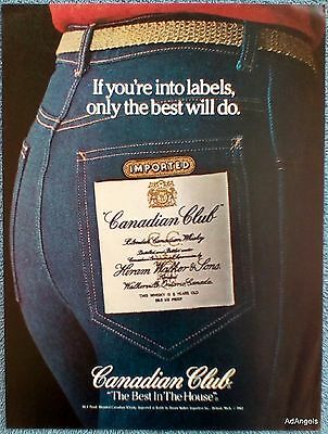 1982 Canadian Club Skin Tight Blue Jeans Back Pocket If You're Into Labels ad