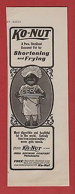 1901 Black African American Cook Serving Donuts - Ko-Nut Mag. Ad India Ref. Co