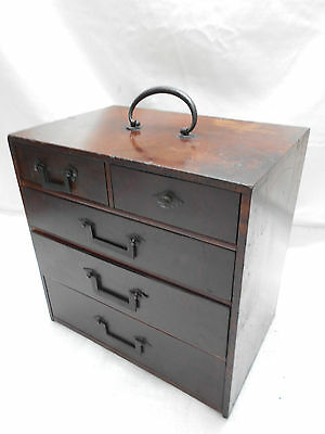 Antique Keyaki and Kiri Wood Sewing Box Japanese Drawers Circa 1890s #497