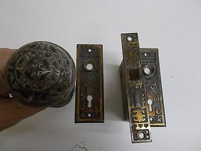 KW-207 Vintage Victorian Embossed Cast Brass Door Knob 7 piece set circa 1870