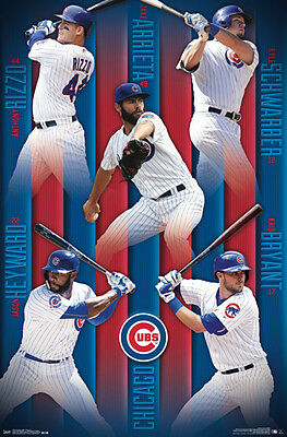 Chicago Cubs FIVE SUPERSTARS POSTER - Bryant, Arrieta, Rizzo, Schwarber, Heyward