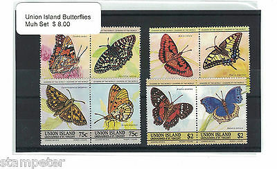 Union Island Butterflies MUH Set of 8