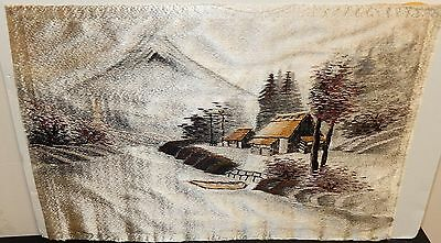 Old Japanese Silk River Village Embroidery Tapestry Painting
