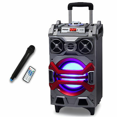 "BLUETOOTH 8"" ACTIVE SPEAKER SYSTEM PORTABLE DJ PA USB MicroSD W/LESS MIC LED"