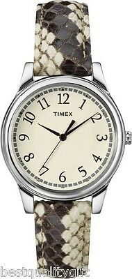 New Timex Beige, Brown Python, Snake Embossed Leather Band,Silver Watch-T2P088