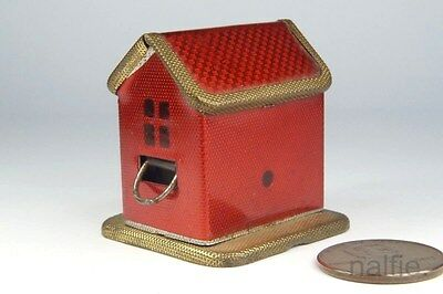 ANTIQUE RED ENAMELLED METAL HOUSE SHAPED NOVELTY SEWING TAPE MEASURE c1920