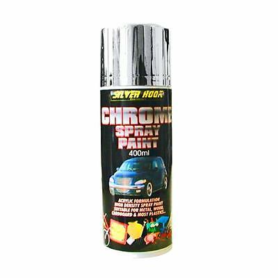Silverhook CHROME EFFECT ACRYLIC AEROSOL SPRAY PAINT CAN 400ml - HIGH DENSITY...