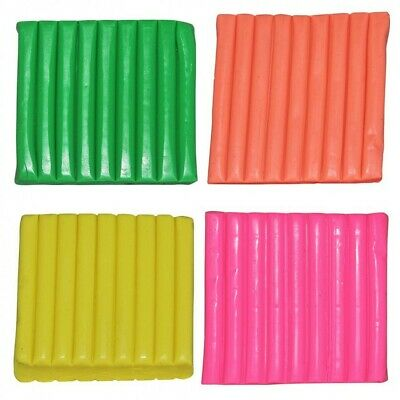 4pce Neon Fluro Modeling Polymer Clay (240g Total) Quick Bake, Non Toxic, Soft