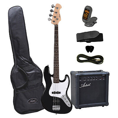 Artist JB2PKBK Electric Bass Guitar + Amp and Accessories - Black - New