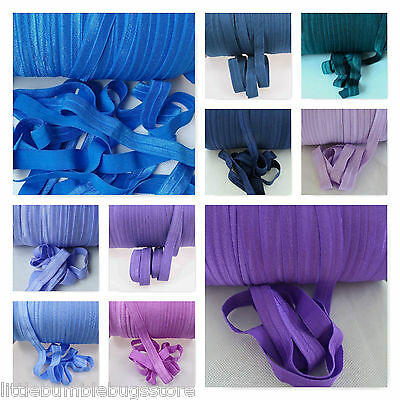 Foe 5/8 Fold Over Elastic By 1, 2, 5 & 10 Metre - Solid Colours -Blues & Purples