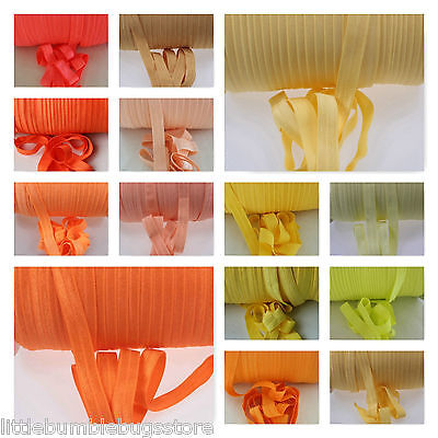 Foe 5/8 Fold Over Elastic By 1, 2, 5 & 10 Metre - Solid Colours -Yellow & Orange